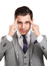 Stressed business man with headache a Royalty Free Stock Photo