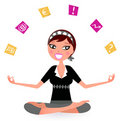 Stressed business Woman juggling with many Notes Royalty Free Stock Images