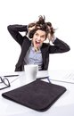 Stressed business woman screaming and pulling hair portrait of crazy young her over white background Royalty Free Stock Photo