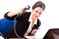 Stressed businesswoman hanging up the phone to someone Stock Photography