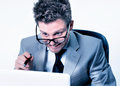 Stressed crazy manager at work Royalty Free Stock Photo