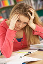 Stressed Female Teenage Student Stock Photos