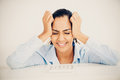 Stressed indian business woman headache depressed looking Royalty Free Stock Image