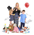 Stressed mother with wild children on white a working is and tried a cell phone making a mess for a discipline or parenting Royalty Free Stock Photo