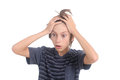 Stressed out boy on a white background Royalty Free Stock Images