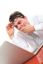 Stressed out man with computer on white background Stock Images