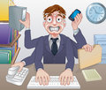 Stressed overworked multitasking business man a cartoon sweating Royalty Free Stock Image