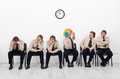 Stressed people waiting for a job interview Royalty Free Stock Photo