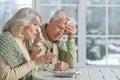 Stressed senior couple Royalty Free Stock Photo