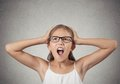 Stressed teenager girl screaming