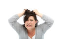 Stressed woman pulling her hair Stock Image