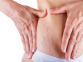 Stretch marks woman is testing the skin on his stomach on broadly the presence of Stock Photo
