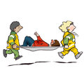Stretcher bearers bearer paramedics carrying injured person Stock Images