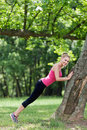 Stretching outdoors Royalty Free Stock Photo