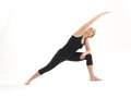 Stretching yoga pose demonstration Stock Photography