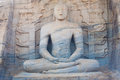 Striated Sitting Buddha Statue Polonnaruwa Front Stock Photo