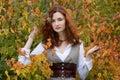 Strict autumn girl Royalty Free Stock Photo