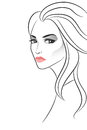 Strict beautiful girl on white vector illustration Royalty Free Stock Photo