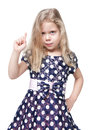 Strict beautiful little girl with blond hair isolated over white background Royalty Free Stock Photos