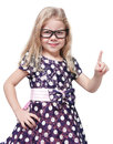 Strict beautiful little girl in glasses showing finger isolated over white background Royalty Free Stock Images