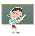 Strict teacher cartoon female stand in front of chalk board Stock Images