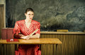 Strict teacher. Old-time school Royalty Free Stock Photo