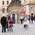Striking protester on prague castle czech republic Royalty Free Stock Photo