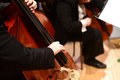 String bass double bass player in orchestra musician playing the concert Royalty Free Stock Photo