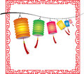 String of bright hanging chinese lanterns decorati decorations for mid autumn festival Royalty Free Stock Photography