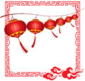 String of bright hanging red chinese lanterns deco decorations in different layers Royalty Free Stock Images