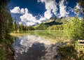 String lake summer morning panoramic photo of in grand teton national park wy Royalty Free Stock Photo