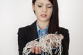String mess business woman with a great big of in her hands Stock Photo