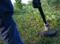 String trimmer mowing weeds Royalty Free Stock Photo