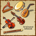 String and wind musical instruments, six icons Royalty Free Stock Photo