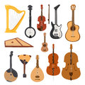 Stringed musical instruments classical orchestra tool equipment vector illustration isolated on white