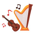 Stringed musical instruments and notes around cartoon set