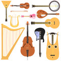 Stringed musical instruments set classical orchestra art sound tool and acoustic symphony stringed fiddle wooden