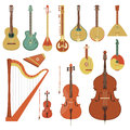 Stringed musical instruments set of various string in the flat style Stock Images