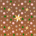 Stripe pattern in copper with snowflakes, stars Royalty Free Stock Photo