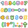 Striped ABC set - numerals, marks, currency Stock Images