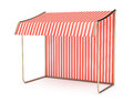 Striped awning empty on white background d render Stock Image