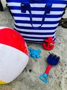 Beach bag and gear Royalty Free Stock Photo