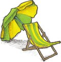 Striped Beach Chair and Parasol Royalty Free Stock Photo