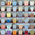 36 Striped Beach Huts, Hove, Sussex, UK Royalty Free Stock Photo