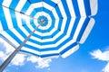 Striped beach umbrella Royalty Free Stock Photo