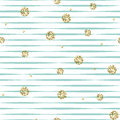 Striped blue and white seamless pattern with golden shimmer polka dots. Royalty Free Stock Photo