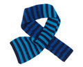 Striped blue woolen scarf multicolored and black isolated on white background Royalty Free Stock Images