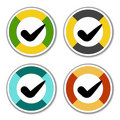 Striped checkmark stickers Royalty Free Stock Photography