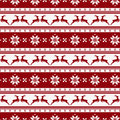 Striped christmas pattern with deers. Vector seamless background