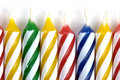 Striped and colorful birthday candles Royalty Free Stock Photography